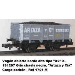 "Ktrain Open wagon high edge type ""X2"" X-191297 Gray black chassis. ""Artaza y Cia"" Charging coal - Ref 1701M"