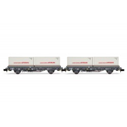 "RENFE, 2-unit set 2-axle flatwagon, grey livery, loaded with 2 containers ""Central Lechera Asturiana"", period IV - Arnold HN6421"