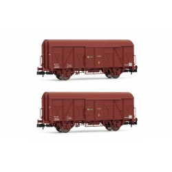 RENFE, 2-unit pack 2-axle closed wagon J2, wooden version, brown livery, period IV - Arnold HN6520