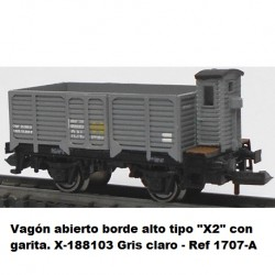 "Ktrain Open wagon high edge type ""X2"" with checkpoint. X-188103 Light gray - Ref 1707A"