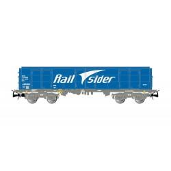 RailSider, 4-axle open wagon Ealos type in blue livery, loaded with scrap, period VI