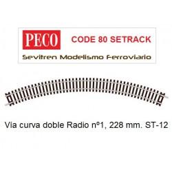 ST-12 Double Curve, 1st Radius (Peco Code 80 Setrack)