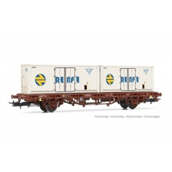 """RENFE, 2-axle container wagon MC1 in oxid red livery with 2 x 20' refrigerated containers """"RENFE""""- Electrotren HE6031"""
