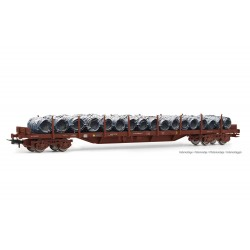 RENFE, MMQ 4-axle stake wagon, loaded with wire coils, period IV - Electrotren HE6033