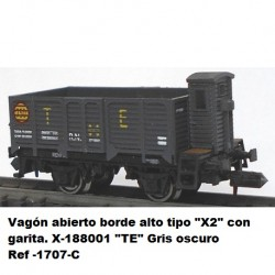 "Ktrain Open wagon high edge type ""X2"" with checkpoint. X-188001 ""TE"" Dark gray - Ref -1707C"