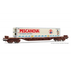 """RENFE, MMQC 4-axle stake wagon, loaded with refrigerated container """"PESCANOVA"""", period IV - Electrotren HE6034"""