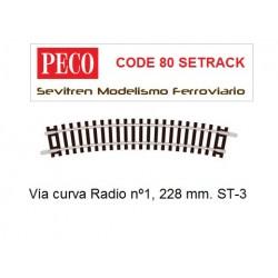 ST-3 Standard Curve, 1st Radius (Peco Code 80 Setrack)