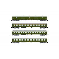 RENFE, set de 4 coches 8000, decoración verde, ép. IV - Arnold HN4295