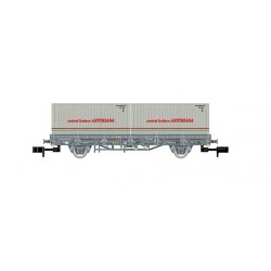 """RENFE, Axle flatwagon, grey livery, loaded with 2 containers """"Central Lechera Asturiana"""", period IV - Arnold HN6421-1"""