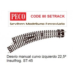 ST-45 Curved Turnout, Left Hand  (Peco Code 80 Setrack)