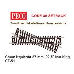 ST-51 Crossing Short, Left Hand (Peco Code 80 Setrack)