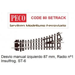 ST-6 Turnout, 1st Radius, Left Hand (Peco Code 80 Setrack)
