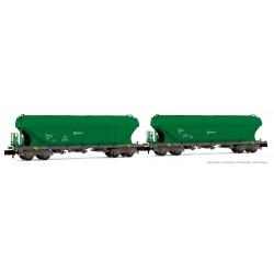 RENFE, 2-unit set TT5 hopper wagons, green livery, period V - Arnold HN6506