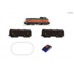 H0, Starter Set, analogic, Diesel locomotive BB 63000 with goods train, SNCF - Roco 51335