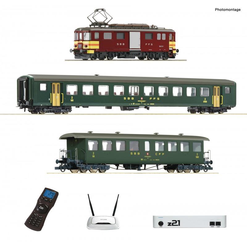 H0 (AC), Starter Set, digital z21, Electric baggage railcar De 4/4 with passenger train, SBB  - Roco 51339