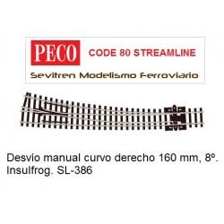 SL-386 Curved Turnout, Large Radius, Right Hand. Insulfrog (Peco Code 80 Streamline)