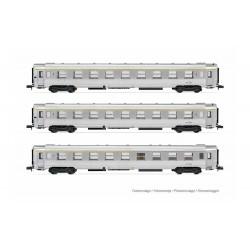 """SNCF, 3-unit pack """"Le Bourbonnais"""", DEV Inox coaches, 2 x A9 + 1 x A5 bar coach, period III  - Arnold HN4320"""
