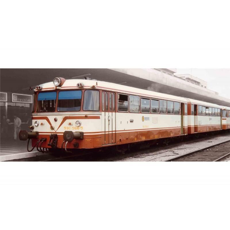 "RENFE, 2-unit diesel railcar ""Ferrobus"", class 591.500, ""Estrella"" Livery, period IV, Analogic - Electrotren E3619"