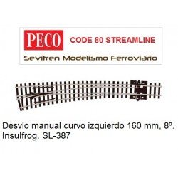 Desvío manual curvo izquierdo 160 mm, 8º. Insulfrog. SL-387 (Peco Code 80 Streamline)