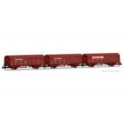 """RENFE, Set 3 vagones cerrados JPD, decoración rojo óxido """"Toro y Betolaza"""", época IV- Arnold HN6528"""
