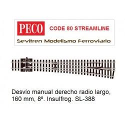 Desvío manual derecho radio largo, 160 mm, 8º. Insulfrog. SL-388 (Peco Code 80 Streamline)