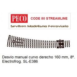 Desvío manual curvo derecho 160 mm, 8º. Electrofrog. SL-E386 (Peco Code 80 Streamline)