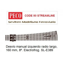 SL-E389 Turnout, Large Radius, Left Hand. Electrofrog. (Peco Code 80 Streamline)