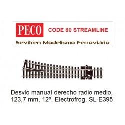 SL-E395 Turnout, Medium Radius, Right Hand. Electrofrog. (Peco Code 80 Streamline)