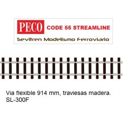 SL-300F Flexible Track with Wooden Sleeper (Peco Code 55 Streamline)
