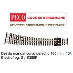 SL-E386F Curved Turnout, Large Radius, Right Hand. Electrofrog (Peco Code 55 Streamline)