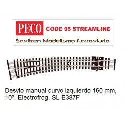 SL-E387F Curved Turnout, Large Radius, Left Hand. Electrofrog. (Peco Code 55 Streamline)