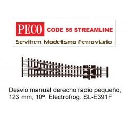 SL-E391F Turnout, Small Radius, Right Hand. Electrofrog (Peco Code 55 Streamline)