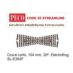 SL-E393F Crossing, Short. Electrofrog. (Peco Code 55 Streamline)