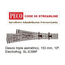 SL-E399F 3 Way Turnout, Medium Radius . Electrofrog. (Peco Code 55 Streamline)