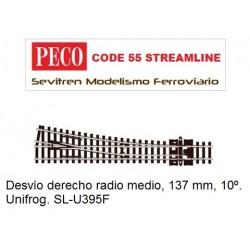 SL-U395F Unifrog Turnout, Medium Radius, Right Hand (Peco Code 55 Streamline))