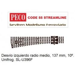 SL-U396F Unifrog Turnout, Medium Radius, Left Hand (Peco Code 55 Streamline)