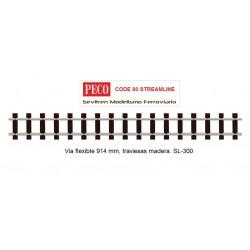 Vía flexible 914 mm, traviesas madera. SL-300 (Peco Code 80 Streamline)