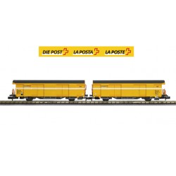 Set 2 SBB postal cars (Yellow color) - Mabar, M-86504