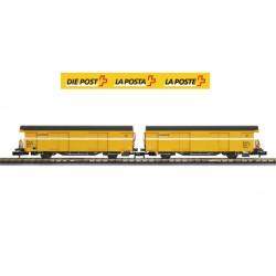Set 2 SBB postal cars (Yellow color) - Mabar, M-86504