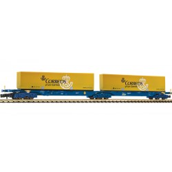 "Wagon double container ship ""Correos"" type Sggmrs, Renfe. Ref 825336 (Fleischmann N)"