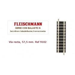 Straight Railtrack 57,5 mm. Ref 9102 (Fleischmann N)