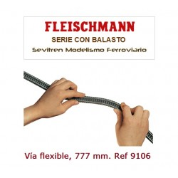 Flexible track with bendable track bed, length 777 mm.. Ref 9106 (Fleischmann N)