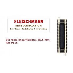 Straight track with inbuilt switch contact, length 55.5 mm.. Ref 9115 (Fleischmann N)