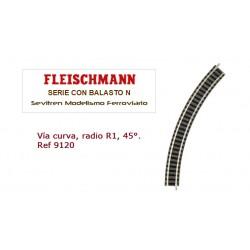 Curved track, radius R1, 45°. Ref 9120 (Fleischmann N)