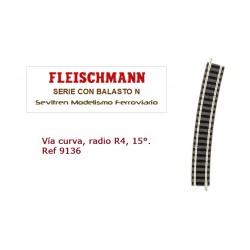 Curved track, radius R4, 15° Ref 9136 (Fleischmann N)