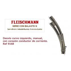Desvío curvo izquierdo, manual, con corazón conductor de corriente. Ref 9168 (Fleischmann N Balasto)
