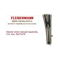 Desvío recto manual izquierda, 111 mm. Ref 9170 (Fleischmann N Balasto)