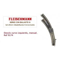 Desvío curvo izquierdo, manual. Ref 9174 (Fleischmann N Balasto)