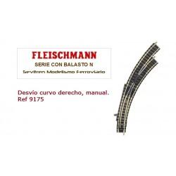 Desvío curvo derecho, manual. Ref 9175 (Fleischmann N Balasto)