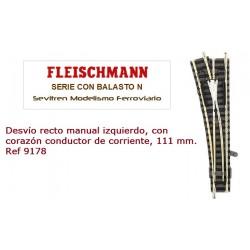 Desvío recto manual izquierdo, con corazón conductor de corriente, 111 mm. Ref 9178 (Fleischmann N Balasto)